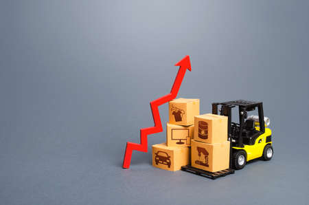 Forklift with boxes and red arrow up. Growth of performance production of goods. Import export, economic recovery trading. High demand, price. Overproduction. Economic development, business support.