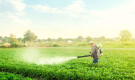 A farmer with a mist blower sprayer walks through the potato plantation. Use chemicals in agriculture. Agriculture and agribusiness. Treatment of the farm field against insect pests, fungal infections