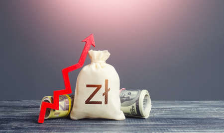 Polish zloty money bag and red arrow up. Growth of economy and increase of investment attractiveness. Rising inflation, money supply. Recovery. Stable currency. Developing markets. Reserve fund 免版税图像