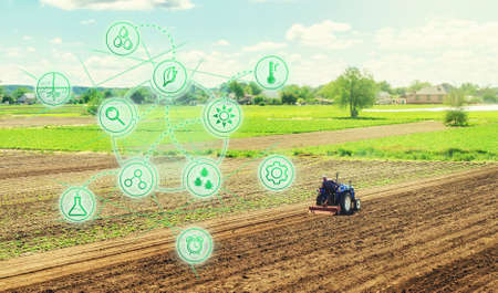 Futuristic innovative technology pictogram and a farmer on a tractor. Science of agronomy. Farming and agriculture startups. Improving efficiency. Technology Improvement in quality and yield growth.