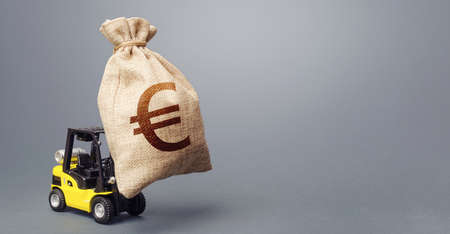 A forklift carrying a huge euro money bag. EU anti-crisis budget. Borrowing on capital market. Stimulating economy. Subsidies soft loans. Strongest financial assistance, business support. Investments