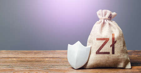 Polish zloty money bag and protection shield. Ease doing business. Recovery after crisis. Guaranteed deposits insurance compensation. Resistance to economic shock. Financial system stability.
