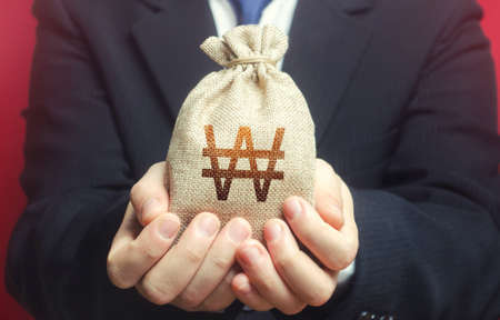 Man holds out a south korean won money bag. Budget management, collect taxes. Financial crisis support, benefits, subsidies. Bank issuance of credit and loans to business. Insurance payout