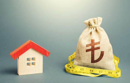 House and a turkish lira money bag. Calculation of expenses for purchase, construction and repair. Buying and selling, fair price. Building maintenance. Mortgage loan. Property real estate valuation.