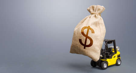 Forklift carrying a dollar money bag. Anti-crisis budget. Borrowing on capital market. Stimulating economy. Subsidies soft loans. Investments. Strongest financial assistance, business support.