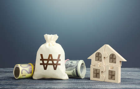South korean won money bag and puzzle house. Mortgage loan on purchase, building maintenance and utility services costs. Housing cooperative membership. Property valuation. State social programs.