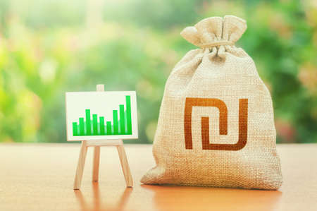 Israeli shekel money bag and easel with green positive growth graph. Economic development. High deposits profitability. Business sentiment. Recovery and growth economy, good investment attractiveness