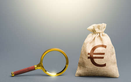Euro money bag and magnifying glass. Financial audit. Origin of capital and legality of funds. Find high-paying job. Most favorable conditions for deposits, loans. Search and attraction of financing.