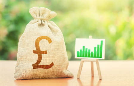 British pound sterling money bag and easel with green positive growth graph. Economic development. Recovery and growth economy, good investment attractiveness. Deposits profitability.