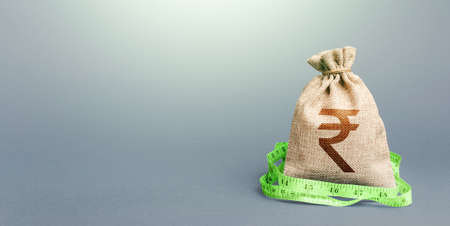Indian rupee money bag and measuring tape meter. Analysis of economic situation. Formation and optimization of the budget, savings. Declaration of income, illegal enrichment. Assessment of capital.