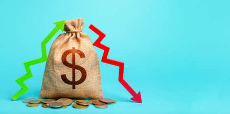 Dollar money bag and two arrows of profit loss. Income expense concept. Debit and credit. Capital movement. Trade balance. Budget implementation. Deposits or lending in banks. Analysis financial flows