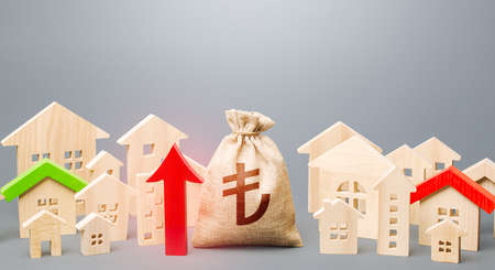 Turkish lira money bag and a city of house figures and red up arrow. Investments. Recovery and growth in property prices, high demand. Increase in revenues to municipal budget. Rent growth.