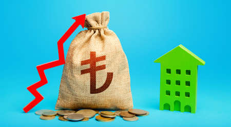 Turkish lira money bag with red up arrow and residential building. Increase in prices for apartments and housing. Municipal budget. Return on investment. Recovery and growth in property cost.