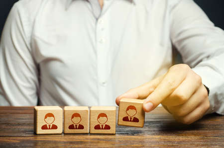 Business leader assembling a team. Team creation for a new project. Leadership. Hiring and recruiting workers. Formation of effective working group. Human resources.