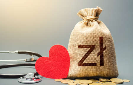 Polish zloty money bag and stethoscope. Health life insurance financing concept. Subsidies. Funding healthcare system. Reforming and preparing for new challenges. Development, modernization.