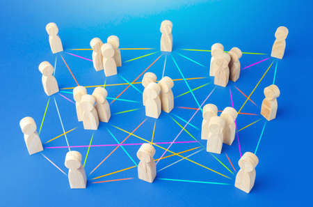 People connected by many lines. Hierarchy of a business company without a dominant center. Distribution of positions and responsibilities, communication without bureaucracy. Efficiency and autonomy