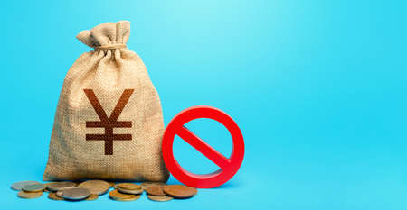 Yuan Yen money bag and red prohibition sign NO. Confiscation of deposits. Termination funding for projects. Monitoring suspicious money flows. Monetary restrictions, freezing seizure of bank accounts.