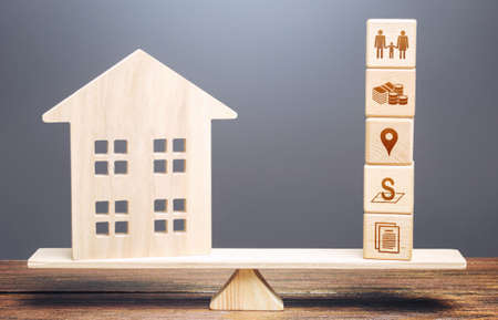 House and blocks of real estate requirements criteria parameters on scales. Searching for a suitable house by criteria. Best choice on market. Realtor services. Price, area, location infrastructure.