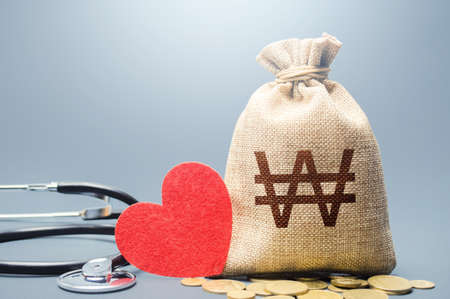 South korean won money bag and stethoscope. Health life insurance financing concept. Subsidies. Funding healthcare system. Reforming and preparing for new challenges. Development, modernization.