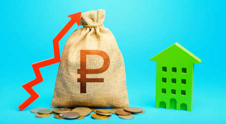 Russian ruble money bag with red up arrow and residential building. Increase in prices for apartments and housing. Recovery and growth in property cost. Return on investment. Municipal budget.