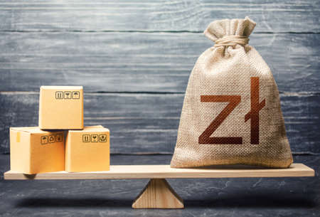 Polish zloty money bag and boxes. Market price regulation. Trade balance, buying and selling goods. Import and export, withholding of customs duties. Commercial contracts, business. Product demand