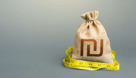 Israeli shekel sterling money bag and measuring tape meter. Analysis of economic situation. Declaration of income, illegal. Formation and optimization of the budget, savings. Assessment of capital. Stock Photo