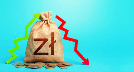 Polish zloty money bag and two arrows of profit loss. Income expense concept. Debit and credit. Budget implementation. Trade balance. Deposits or lending in banks. Financial flows. Capital movement. Stock Photo