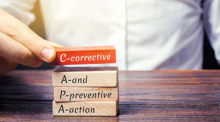 Wooden blocks with the word CAPA. Corrective and Preventive action plans. Business management concept. Strategy and efficiency. Improving organizational processes. Performance