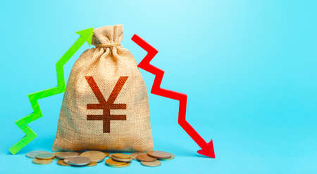 Yuan Yen money bag and two arrows of profit loss. Income expense concept. Budget implementation. Trade balance. Deposits or lending in banks. Debit and credit. Financial flows. Capital movement.