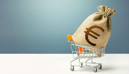 Euro money bag on a shopping cart. Profits and super profits. Loans and microloans. Minimum living wage. Consumer basket. Business and trade concept. Public procurement, budgeting. Economic bubbles Фото со стока
