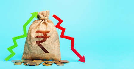 Indian rupee money bag and two arrows of profit loss. Income expense. Debit and credit. Financial flows. Capital movement. Trade balance. Deposits or lending in banks. Budget implementation. Stockfoto - 159020448