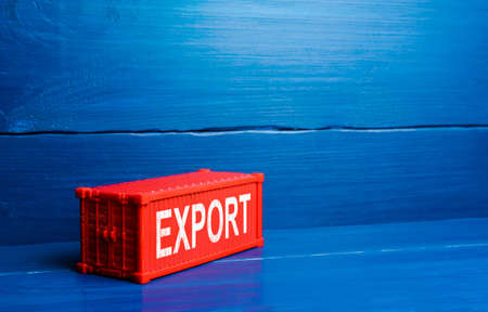 Red cargo ship container with word Export. Sale of goods to foreign markets, commercial globalization and global business. International trade, transportation, logistics. Economic processes Reklamní fotografie