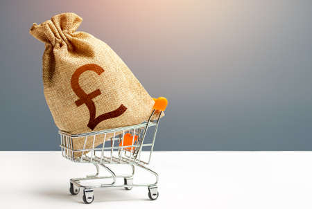 British pound sterling money bag in a shopping cart.