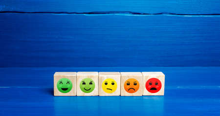 Mood faces from happy to angry on wooden blocks. Concept of rating, review. Visitor satisfaction with the services received. Communication and feedback. Quality assessment, meeting expectations. Stock fotó