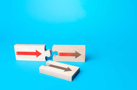 Puzzles with arrows symbolizing the choice of correct option to continue. Choosing a further path, alternative options. Choice, new possibilities. Best pick selection, most simple and affordable way