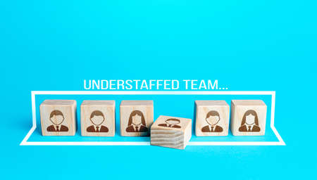 Blocks with a team of people requiring additional staffing. Understaffed team. Searching, hiring, recruiting new candidates. Group reorganization restructuring. Replacement of workers, staff renewal.