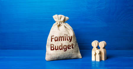 Family figurines and family budget money bag. Security, purchasing power. Financial literacy. Financial support for social institutions. Well-being of the population. Basic income. Cost studies.