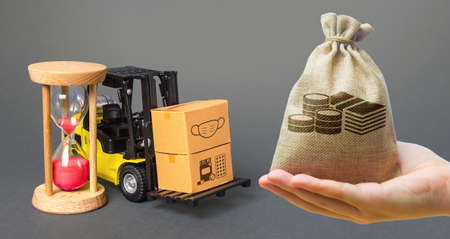 Money bag, forklift with boxes and hourglass. Urgent delivery of medicines and medical protective masks. Supply hospitals and populations to stop spread  virus, contain padnemia.