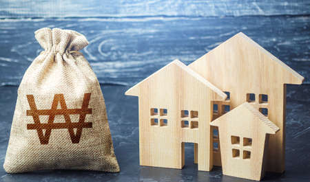 Bag with the money and the word Taxes and wooden houses. Taxes on real estate, payment. Penalty, arrears. Register of taxpayers for property. Law-abiding, evasion of payment. Court law. Luxury tax. Archivio Fotografico