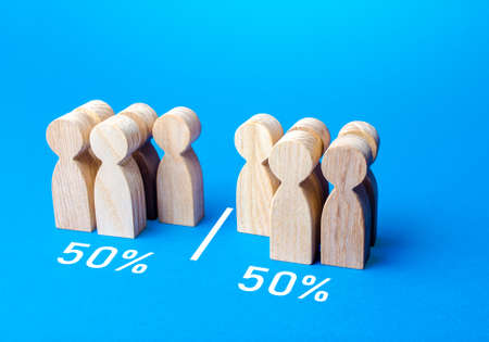 The group of people is divided equally by line. Visualization of statistical data. 50% of 100%. Dividing people into two groups on different issues. Polls test results. Equality in numbers