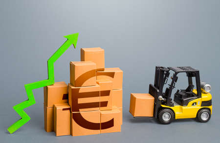 Forklift and stack of boxes with euro symbol and green up arrow. Sales growth concept. Production, freight of goods. Increase imports and exports, economic recovery. World trade traffic. High income