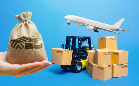 Money bag, forklift truck with cardboard boxes and freight plane. Transportation logistics infrastructure, import export goods, products delivery. Production, transport cargo. Air transportation Archivio Fotografico