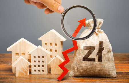 Polish zloty money bag and residential buildings with an up arrow. The concept of increasing the cost of housing. The growth of rent and mortgage rates. Raising rents, property taxes. Subsidized funds