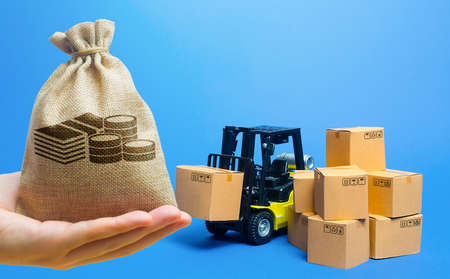 Money bag, forklift truck with cardboard boxes. Transportation logistics infrastructure, import and export goods and products delivery. Production, transport, cargo storage. Freight shipping. retail