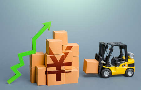 Forklift and stack of boxes with yen or yuan symbol and green up arrow. Sales growth concept. Increase imports and exports, post-pandemic economic recovery. Trade traffic. Production, freight of goods