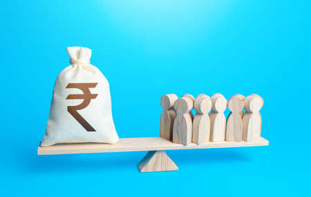 Group of people and indian rupee sterling money bag on weight scales. Staff maintenance. Payment of staff salaries. Investors investments, shareholders. Financial support. Profit from productivity.