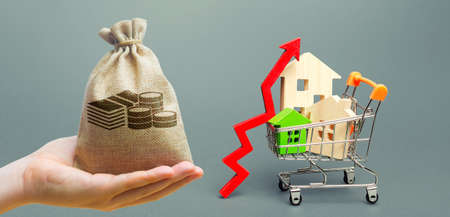 Money bag, wooden houses in a shopping cart and red arrow up. Real estate price growth concept. High demand for housing. Building maintenance.