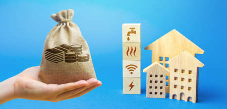 Money bag, residential buildings and blocks with communal services symbols. Utilities public service. Price, payment methods, subsidies registration. Savings, reduced environmental impact.