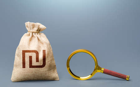 Israeli shekel money bag and magnifying glass. Financial audit. Origin of capital and legality of funds. Search for financing beneficiaries. Most favorable conditions for deposits, loans.