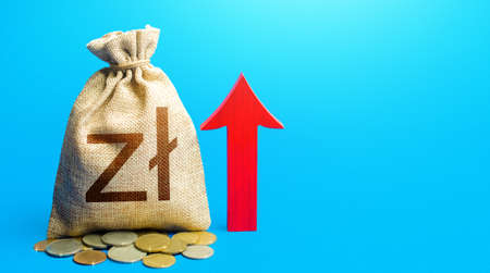 Polish zloty money bag with red arrow up. Recover financial system after crisis. Raising taxes. Deposit interest. Increase in profitability and prosperity, higher living standards. Budget growth. Stock Photo